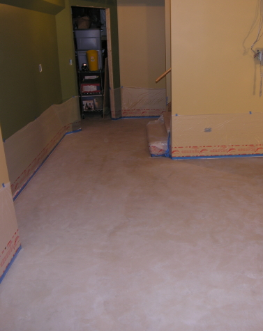 Finished Basement Concrete Floor After Cleaning, Before Acid-Staining