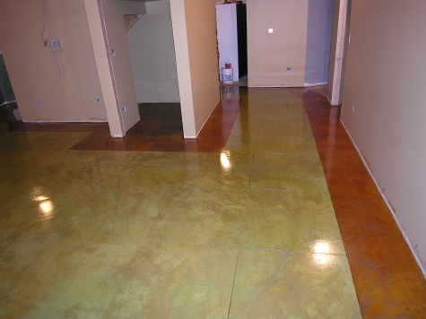 Acid-Stained Finished Basement Concrete Floor Hallway With Colored Border