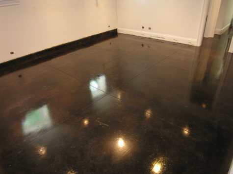 Dark Chestnut Brown Acid-Stained Basement Concrete Floor In Chicago With Clear Sealer And Floor Finish