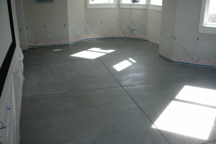 Finished Basement New Concrete Floor After Stripping Sealer And Cleaning