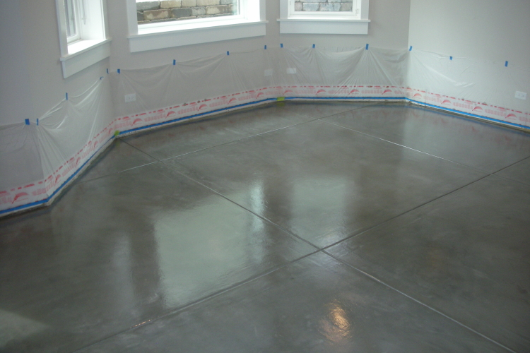 Finished Basement Charcoal Gray New Concrete Floor Sealed With Clear Epoxy