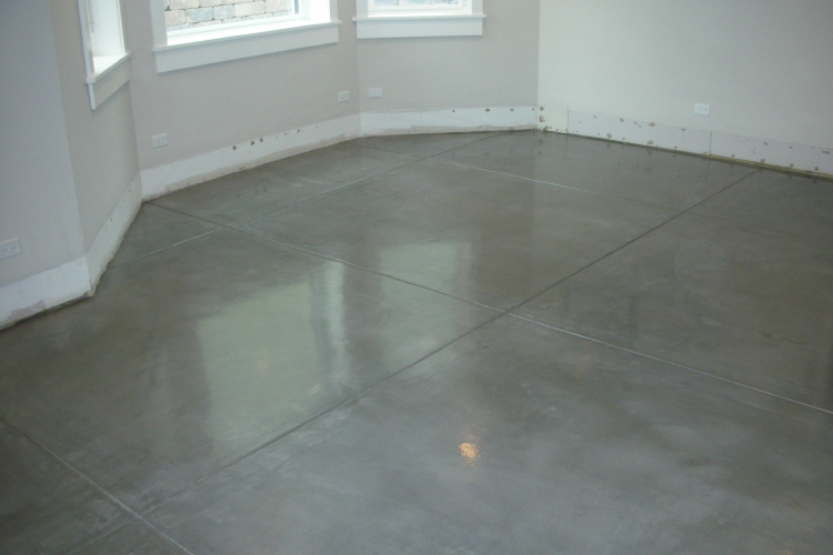Finished Basement Charcoal Gray New Concrete Floor With Clear Epoxy Sealer
