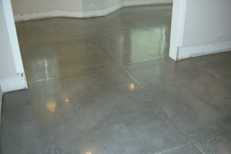 Finished Basement Charcoal Gray New Concrete Floor With Clear Epoxy Sealer And Matte Acrylic Floor Finish