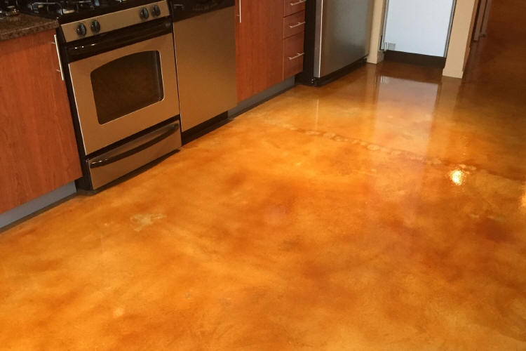 Luxury Loft Condominium Building Acid-Stained Kitchen Concrete Floor