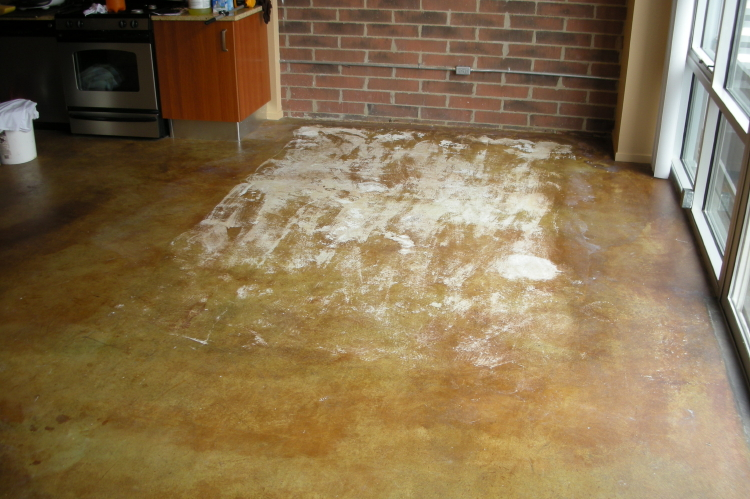 Luxury Loft Condominium Building Acid-Stained Concrete Kitchen Floor Damaged By Carpet Adhesive