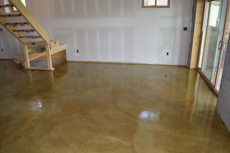 Yellow-Gold Acid-Stained Basement Concrete Floor With Clear Sealer