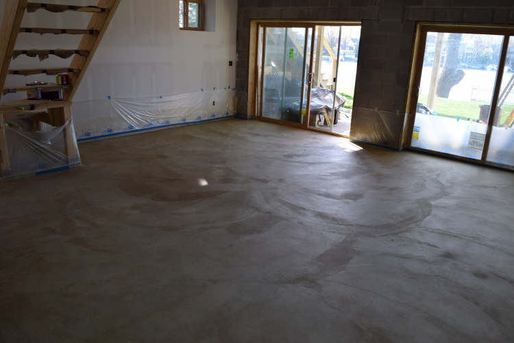 Rough-Troweled, Poorly Finished Basement Concrete Floor After Cleaning And Before Acid-Staining