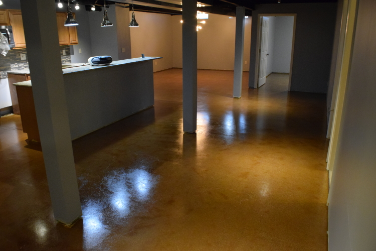 Finished Basement, Caramel-Colored  Acid-Stained Concrete Floor With Clear Epoxy Sealer