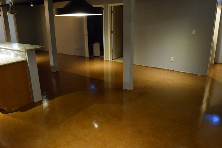 Finished Basement Dining Room Concrete Floor Acid-Stained Caramel