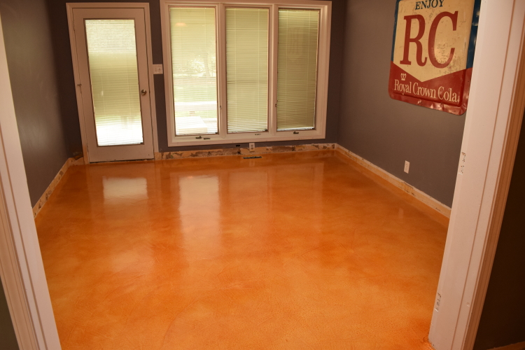 Acid-Stained Dining Room Cement Overlay With Clear Epoxy Sealer
