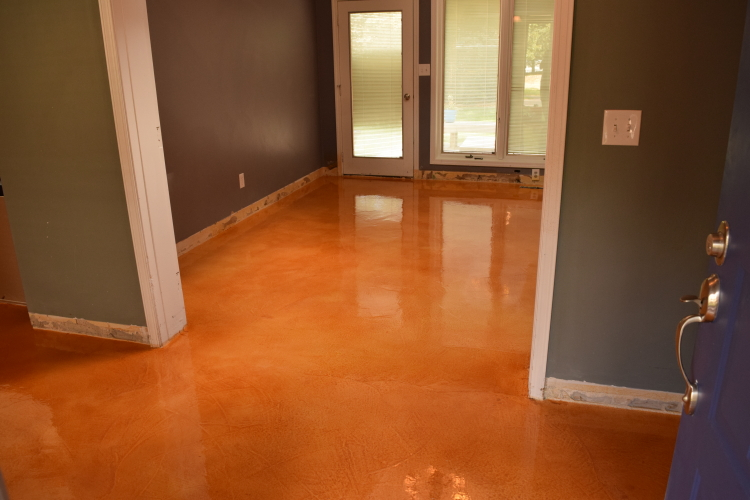 Acid-Stained Cement Overlay Of Home Interior Ground Floor With Clear Epoxy Sealer