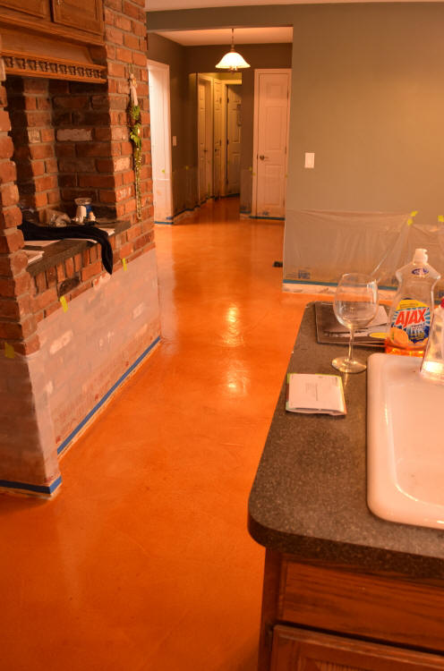 Acid-Stained Cement Overlay Of Kitchen And Hall Floors With Clear Sealer