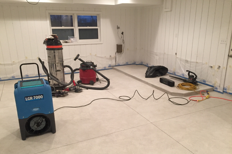 New Garage Damp Concrete Floor During Drying After Wet Cleaning And Diamond Grinding