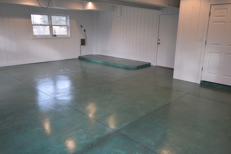 Blue-Green Acid-Stained Garage Concrete Floor With Clear Polyurea Sealer