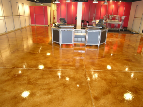 Retail Store Concrete Floor Resurfaced With Acid-Stained Cement Overlay and Clear Epoxy Sealer
