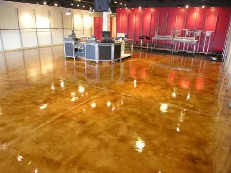 Retail Store Concrete Floor With New Acid-Stained Cement Overlay