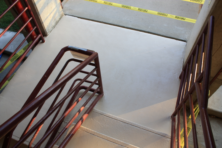 Parking Deck Concrete Stairwell After Repairs and New Coating