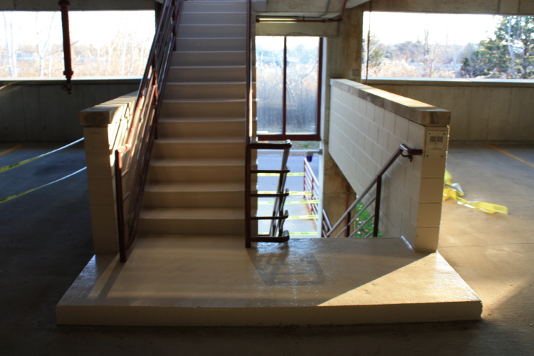 Interior Concrete Stairwell of Parking Deck After Repairs and New Non-Slip Coating
