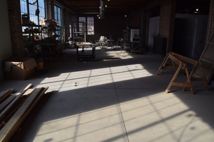 New Concrete Floor In Old Factory Before Acid Staining