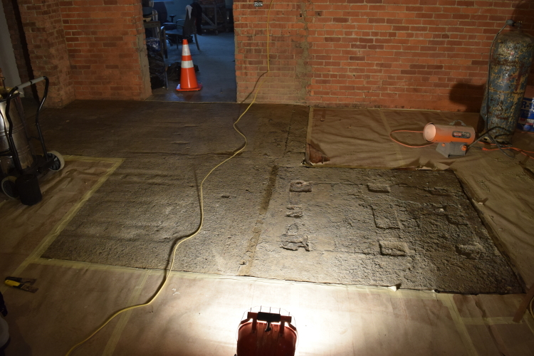 Damaged Concrete Slab Foundation In Old Factory Prior To Repairs And Resurfacing