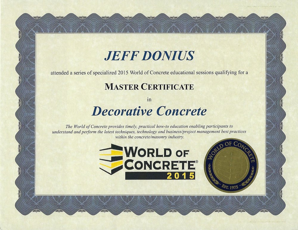 Master Certificate in Decorative Concrete From 2015 World Of Concrete (WOC)