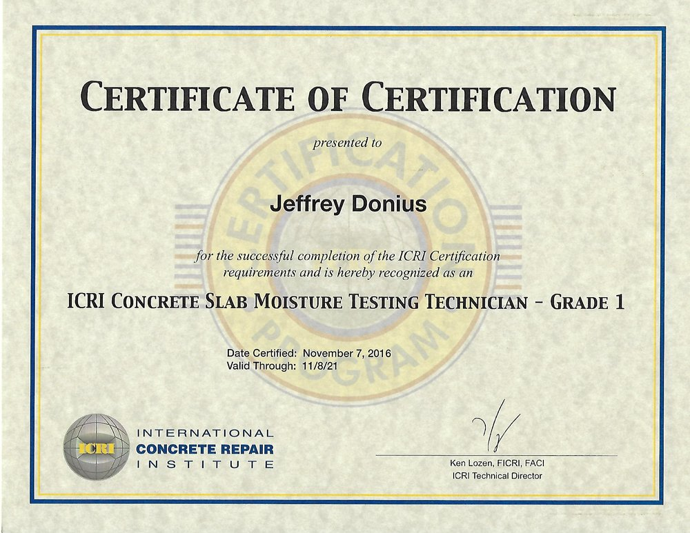 Moisture Testing Certificate From International Concrete Repair Institute (ICRI)