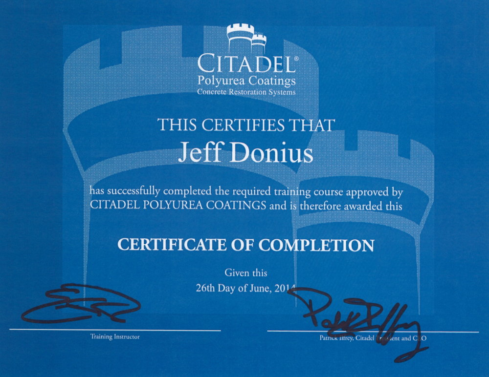 Training Certificate From Rustoleum/Citadel Polyurea Coatings