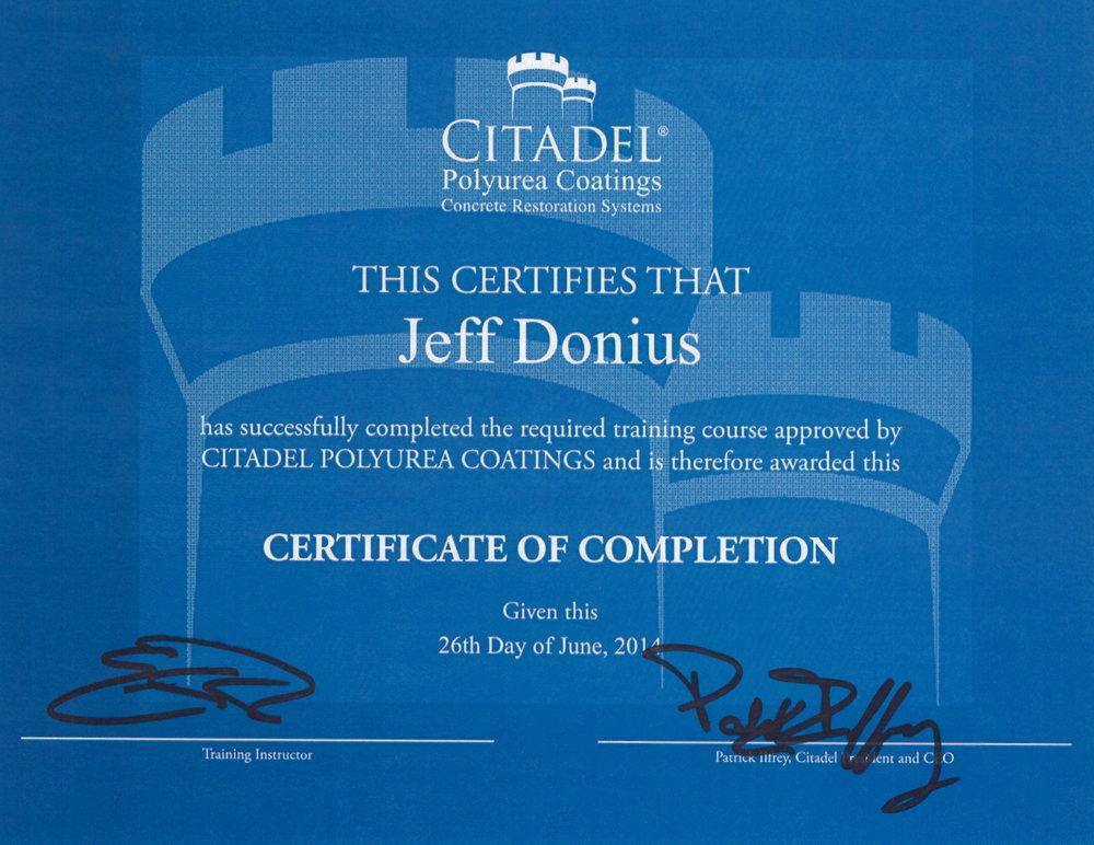 Training Certificate From Rustoleum/Citadel Polyurea Coatings