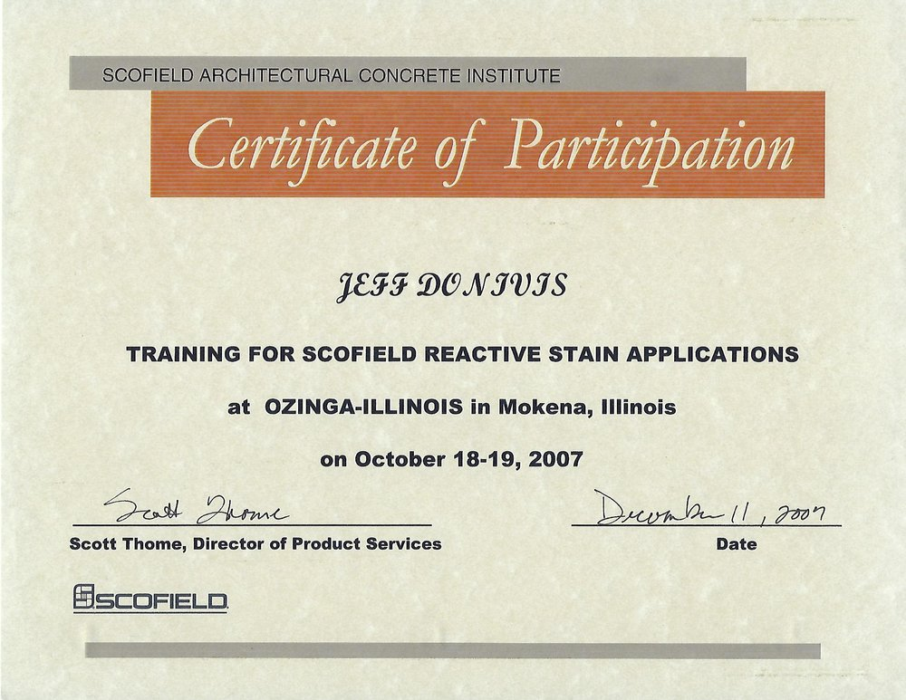 Acid Stain Training Certificate From Scofield