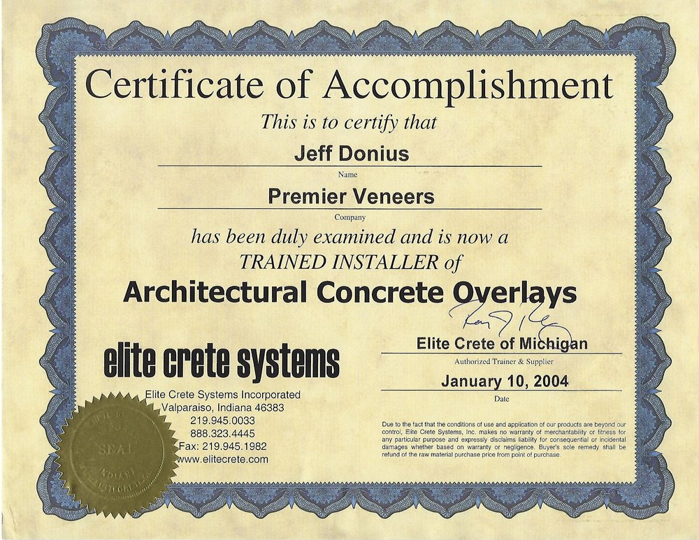 Overlay Training Certificate From Elite Crete Systems