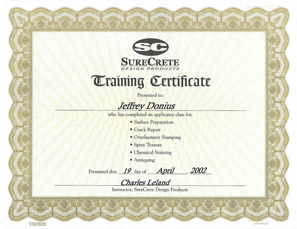 Decorative Concrete Overlay Training Certificate From Surecrete