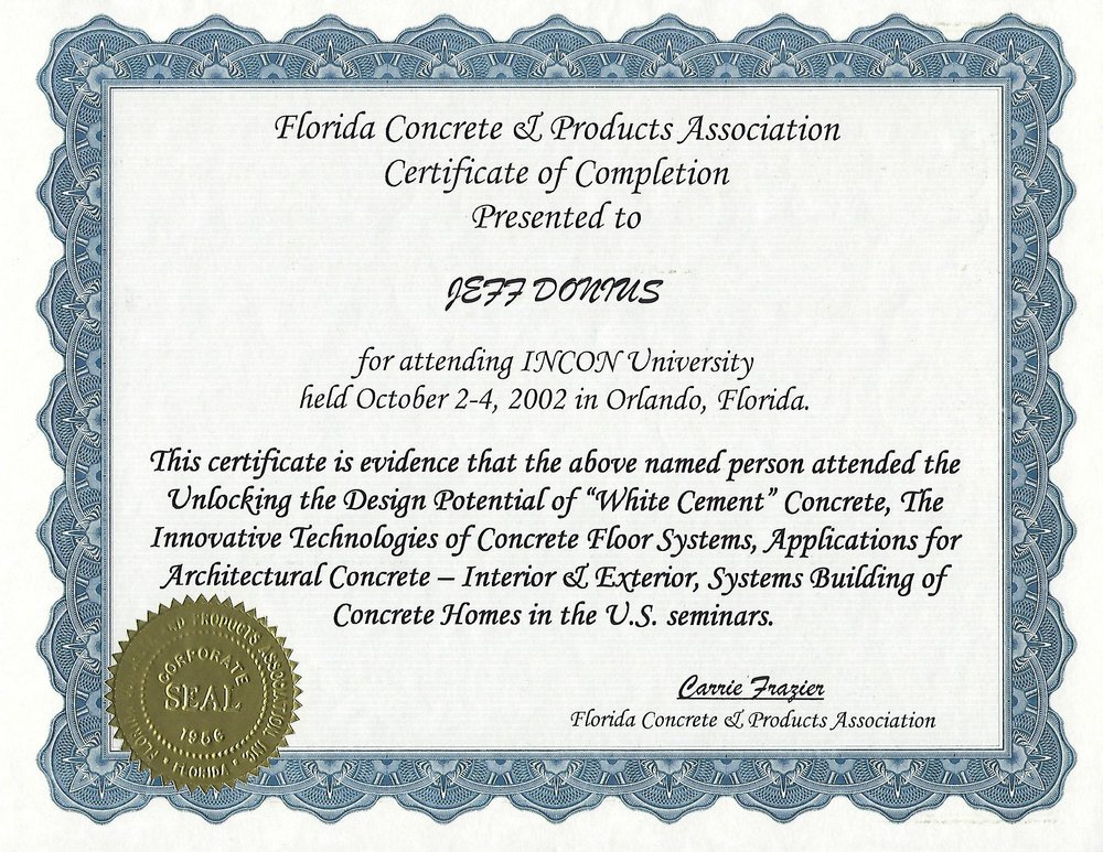2002 Certificate Of Completion In New Concrete Technologies From INCON University