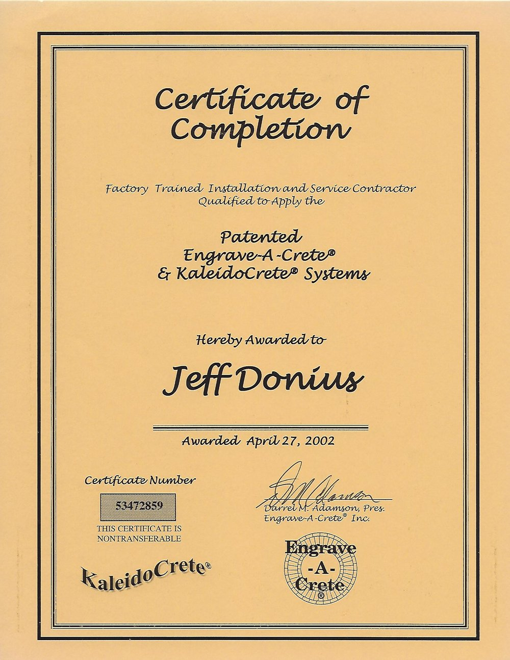 Certificate of Completion in Concrete Engraving From Engrave-A-Crete