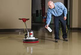 Spray buffing can be an effective, time saving method to restore the sheen and finish of an acid-stained concrete floor but needs to be done carefully and with the appropriate equipment and materials. Photo courtesy of Norton Abrasives.