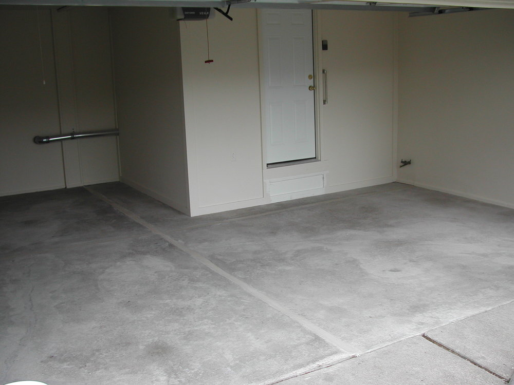 Garage Concrete Floor Cleaned and Prepared for Epoxy Color Flake Coating System