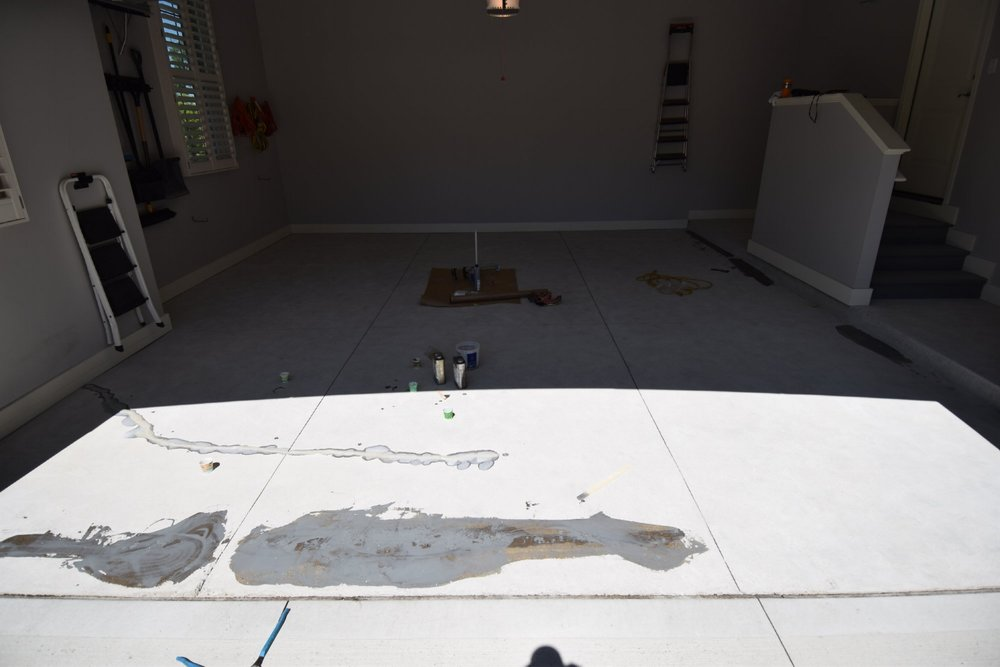 Garage Concrete Floor During Repairs Before Installation Of Polyurea Color Flake System