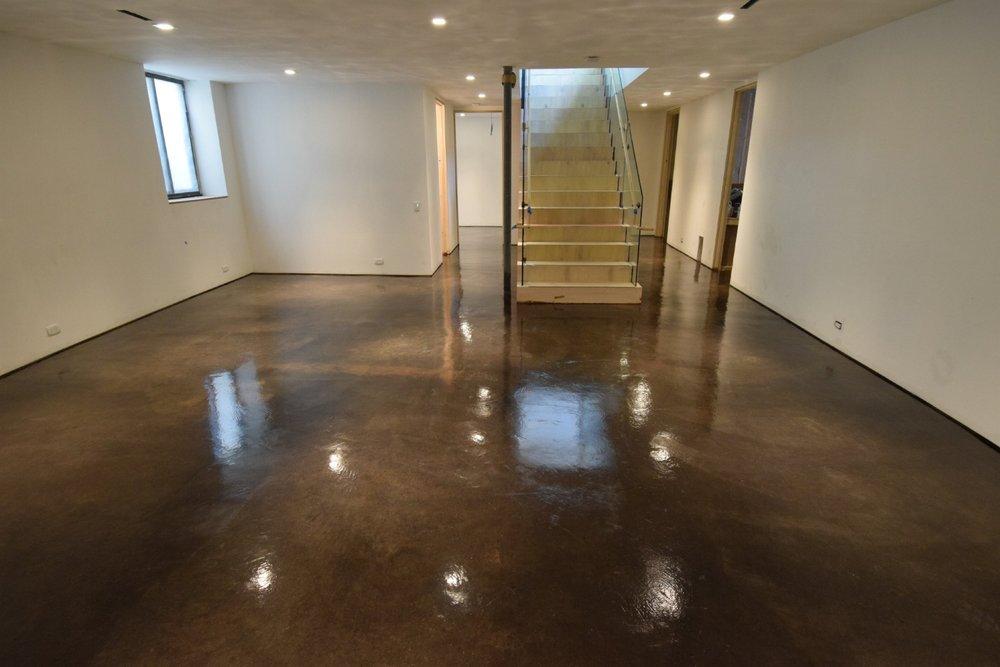 Beautiful, Dark-Brown/Black, Acid-Stained Basement Concrete Floor With Clear Polyurea Sealer