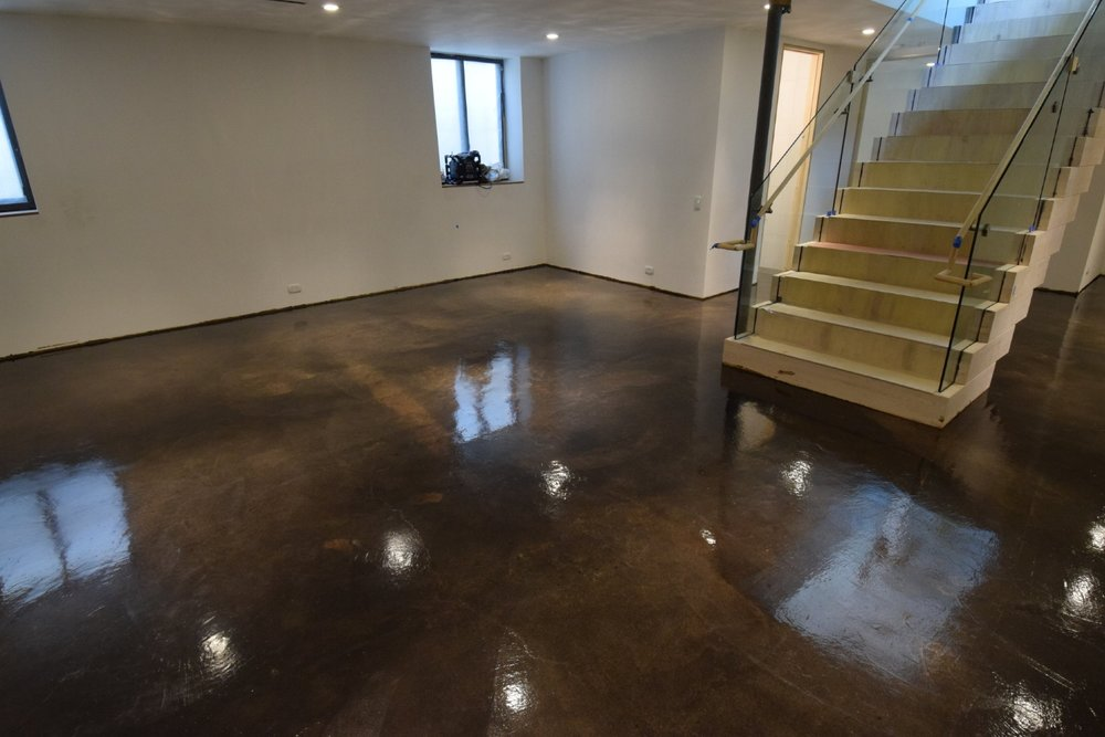 Beautiful, Dark-Brown/Black, Acid-Stained Basement Concrete Floor With Clear Polyurea Sealer