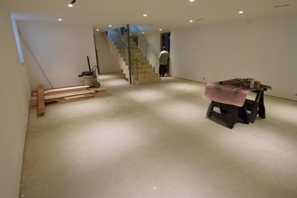 New Basement Concrete Floor Before Cleaning And Acid-Staining