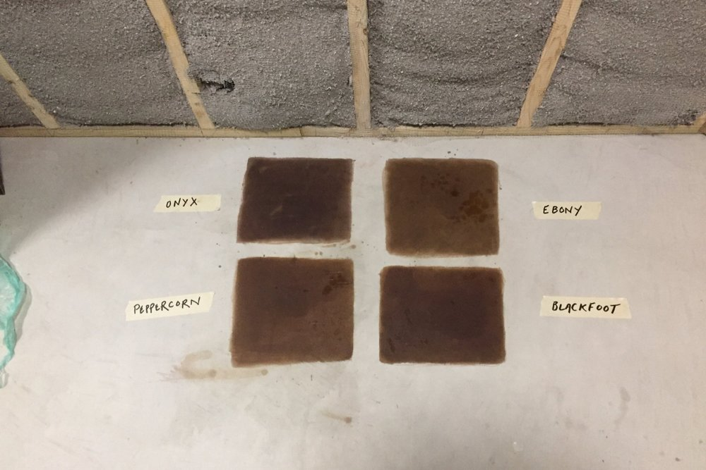 Basement Concrete Floor Black Acid Stain Project Samples Unsealed