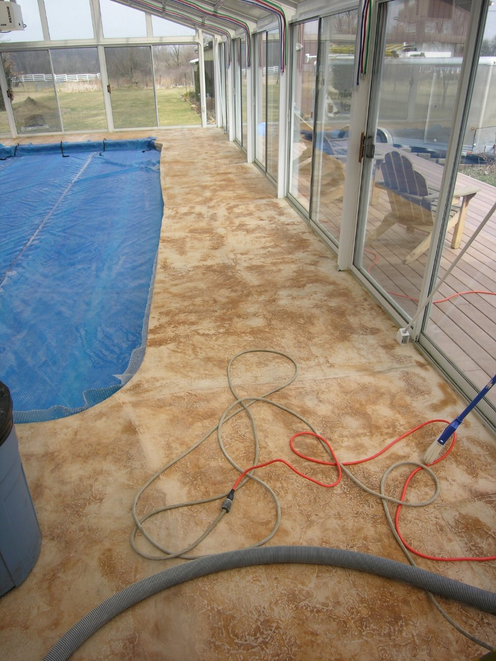 Faulty, Failed Decorative Cement Overlay Of Indoor Concrete Pool Deck Before Removal