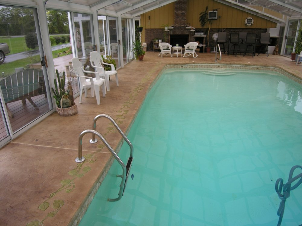 Beautiful, Award-Winning, Acid-Stained And Stamped, Decorative Cement Overlay With Border Of Indoor Concrete Pool Deck