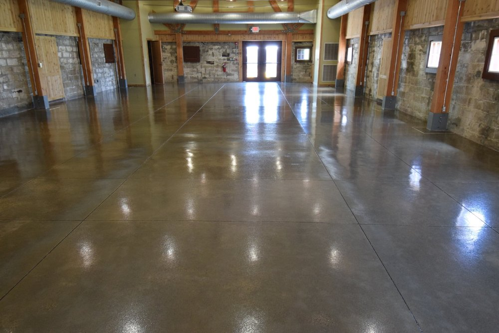 Museum Gray Concrete Floor After Coating With Clear Polyurea Sealer