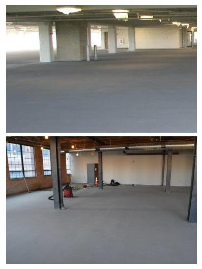 Self-leveling overlays and normal concrete look almost exactly alike.  At top is newly poured concrete in a parking deck; at bottom, a new self-leveling overlay of an old warehouse concrete floor.