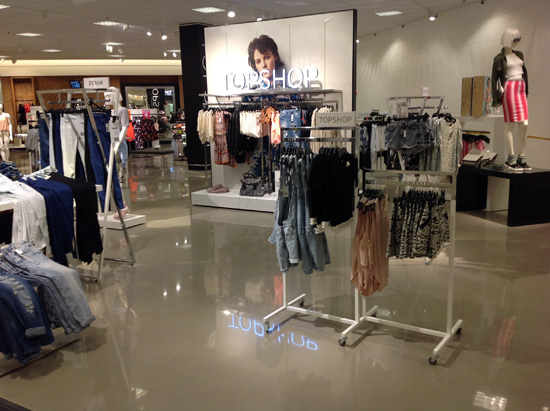 Polished concrete flooring at the Nordstrom's store, in Troy, Michigan, that was installed using a self-leveling overlay from the CTS Cement Manufacturing Corp.