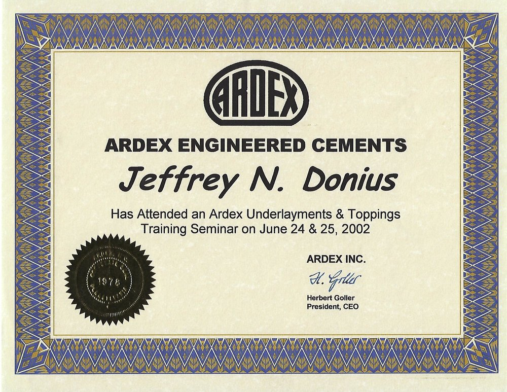 Premier Veneers' owner, Jeff Donius, was certified by Ardex in 2002 to use their underlays and overlays, as well as color and decorative techniques with SDT.