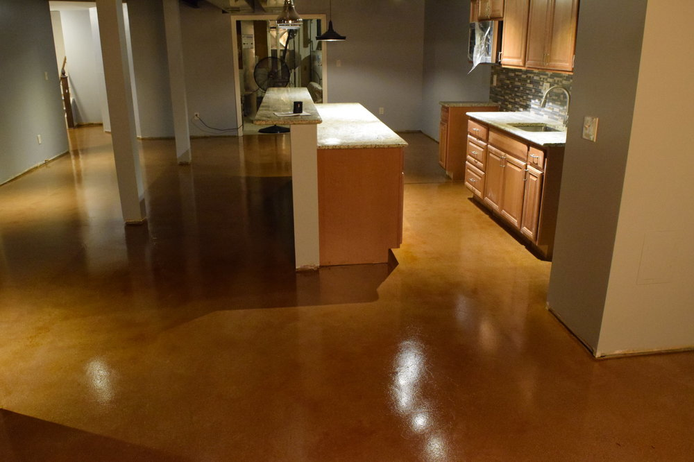 Finished Basement Acid Stained Concrete Floor