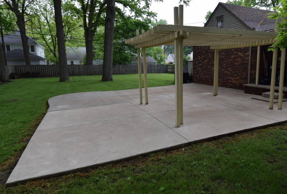 Concrete Patio After Pressure Washing Before Cement Overlay