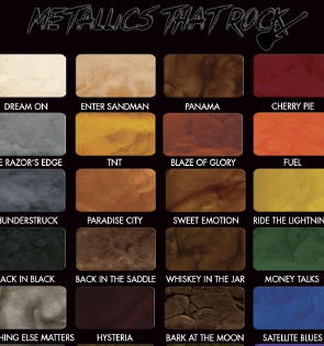 This attractive metallic epoxy color chart shows the dramatic, synthetic flow of color resulting from the gradual dispersion of colored metallic pigments in the self-levelling epoxy after application.