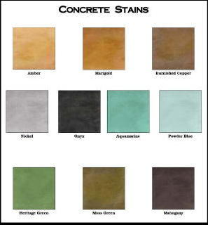 "This typical acid stain color chart shows the subtle, natural mottling effect of the naturally occurring chemical reaction between metallic ""ions"" in acid stain with calcium hydroxide in the concrete."